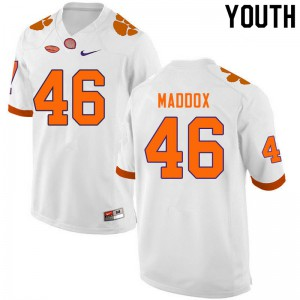 Youth NCAA #46 Jack Maddox Clemson Tigers College Football White Jersey 172559-417