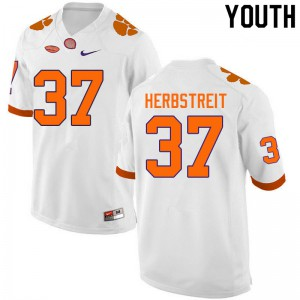 Youth NCAA #37 Jake Herbstreit Clemson Tigers College Football White Jersey 246114-935