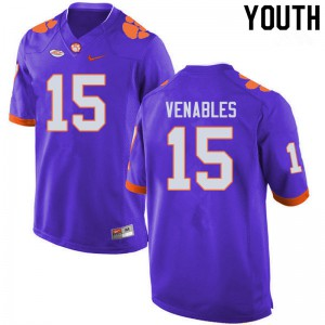 Youth NCAA #15 Jake Venables Clemson Tigers College Football Purple Jersey 829768-625