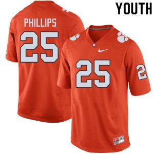Youth NCAA #25 Jalyn Phillips Clemson Tigers College Football Orange Jersey 326914-850