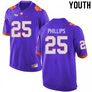 Youth NCAA #25 Jalyn Phillips Clemson Tigers College Football Purple Jersey 218329-423