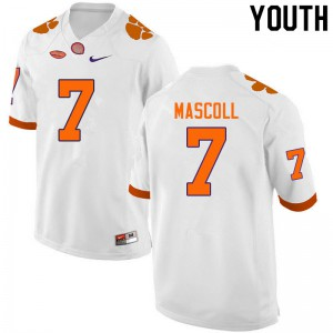 Youth NCAA #7 Justin Mascoll Clemson Tigers College Football White Jersey 583927-758