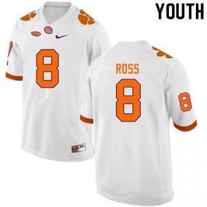 Youth NCAA #8 Justyn Ross Clemson Tigers College Football White Jersey 606397-309