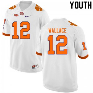 Youth NCAA #12 K'Von Wallace Clemson Tigers College Football White Jersey 932452-365