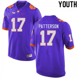Youth NCAA #17 Kane Patterson Clemson Tigers College Football Purple Jersey 570530-557