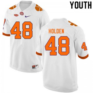 Youth NCAA #48 Landon Holden Clemson Tigers College Football White Jersey 310678-568