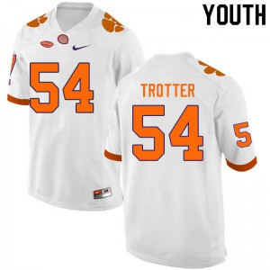 Youth NCAA #54 Mason Trotter Clemson Tigers College Football White Jersey 398872-909