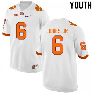 Youth NCAA #6 Mike Jones Jr. Clemson Tigers College Football White Jersey 463241-142