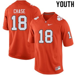 Youth NCAA #18 T.J. Chase Clemson Tigers College Football Orange Jersey 948059-828