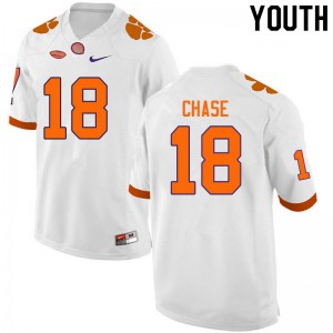 Youth NCAA #18 T.J. Chase Clemson Tigers College Football White Jersey 512646-371