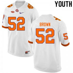 Youth NCAA #52 Tyler Brown Clemson Tigers College Football White Jersey 491143-604