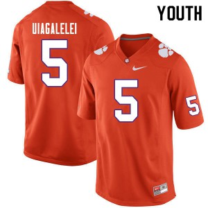 Youth NCAA #5 D.J. Uiagalelei Clemson Tigers College Football Orange Jersey 399065-265
