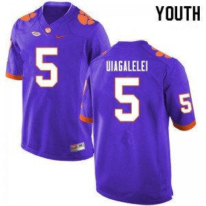 Youth NCAA #5 D.J. Uiagalelei Clemson Tigers College Football Purple Jersey 285015-982