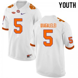 Youth NCAA #5 D.J. Uiagalelei Clemson Tigers College Football White Jersey 860391-785