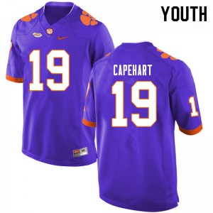 Youth NCAA #19 DeMonte Capehart Clemson Tigers College Football Purple Jersey 763485-951