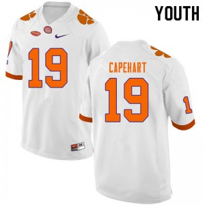 Youth NCAA #19 DeMonte Capehart Clemson Tigers College Football White Jersey 350365-406