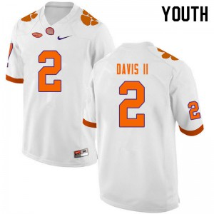 Youth NCAA #2 Fred Davis II Clemson Tigers College Football White Jersey 623523-381