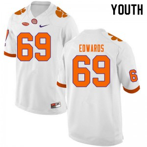 Youth NCAA #69 Jacob Edwards Clemson Tigers College Football White Jersey 909205-503