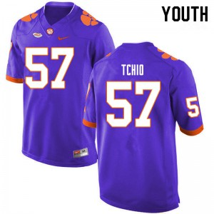 Youth NCAA #57 Paul Tchio Clemson Tigers College Football Purple Jersey 768918-272