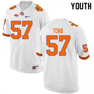Youth NCAA #57 Paul Tchio Clemson Tigers College Football White Jersey 748868-882