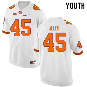 Youth NCAA #45 Sergio Allen Clemson Tigers College Football White Jersey 855749-717