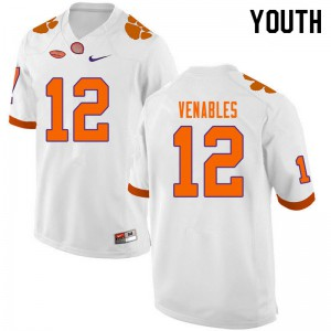 Youth NCAA #12 Tyler Venables Clemson Tigers College Football White Jersey 717848-657