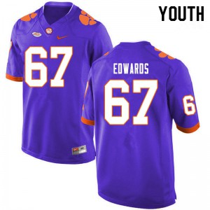 Youth NCAA #67 Will Edwards Clemson Tigers College Football Purple Jersey 378791-451