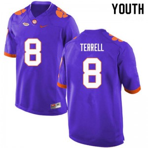 Youth NCAA #8 A.J. Terrell Clemson Tigers College Football Purple Jersey 189335-817