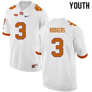 Youth NCAA #3 Amari Rodgers Clemson Tigers College Football White Jersey 257580-971