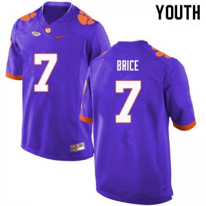 Youth NCAA #7 Chase Brice Clemson Tigers College Football Purple Jersey 724545-667