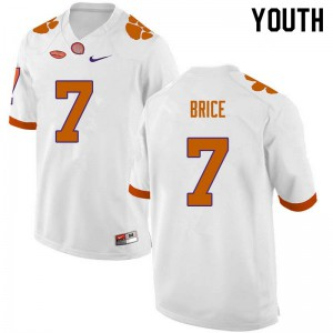 Youth NCAA #7 Chase Brice Clemson Tigers College Football White Jersey 647172-703