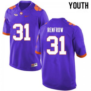 Youth NCAA #31 Cole Renfrow Clemson Tigers College Football Purple Jersey 250071-458