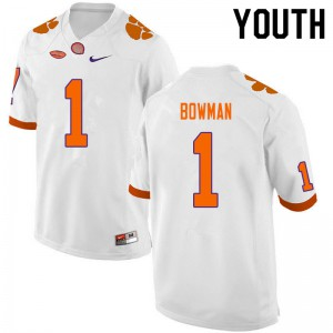 Youth NCAA #1 Demarkcus Bowman Clemson Tigers College Football White Jersey 769109-655