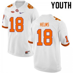 Youth NCAA #18 Hunter Helms Clemson Tigers College Football White Jersey 376438-805