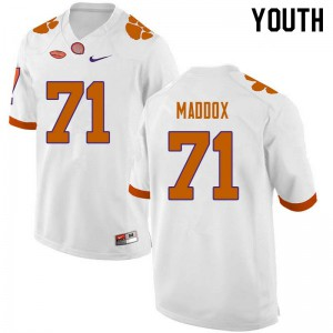 Youth NCAA #71 Jack Maddox Clemson Tigers College Football White Jersey 447356-482