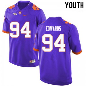 Youth NCAA #94 Jacob Edwards Clemson Tigers College Football Purple Jersey 727362-144