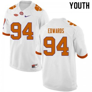 Youth NCAA #94 Jacob Edwards Clemson Tigers College Football White Jersey 335226-470