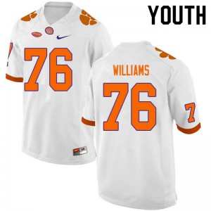 Youth NCAA #76 John Williams Clemson Tigers College Football White Jersey 455413-809