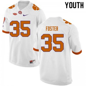 Youth NCAA #35 Justin Foster Clemson Tigers College Football White Jersey 279898-195