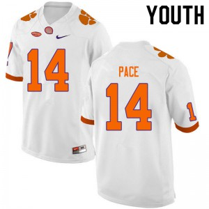 Youth NCAA #14 Kobe Pace Clemson Tigers College Football White Jersey 114391-530
