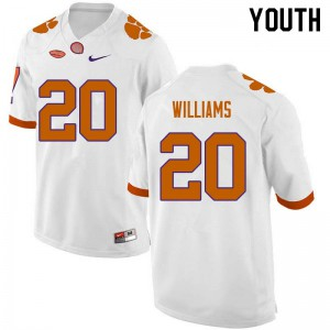 Youth NCAA #20 LeAnthony Williams Clemson Tigers College Football White Jersey 955297-847