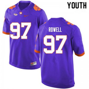 Youth NCAA #97 Nick Rowell Clemson Tigers College Football Purple Jersey 391908-451