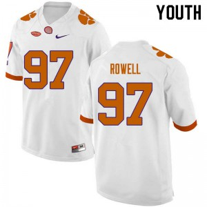 Youth NCAA #97 Nick Rowell Clemson Tigers College Football White Jersey 714872-474