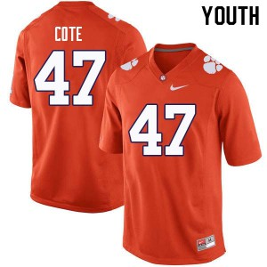 Youth NCAA #47 Peter Cote Clemson Tigers College Football Orange Jersey 237718-279