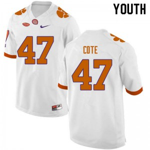 Youth NCAA #47 Peter Cote Clemson Tigers College Football White Jersey 864137-363