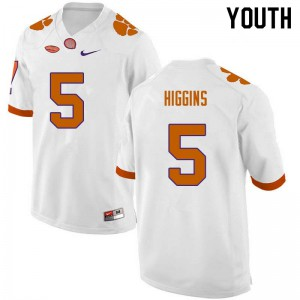 Youth NCAA #5 Tee Higgins Clemson Tigers College Football White Jersey 228609-658