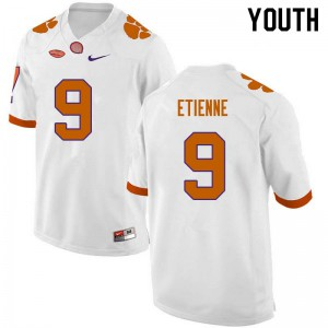 Youth NCAA #9 Travis Etienne Clemson Tigers College Football White Jersey 252680-837