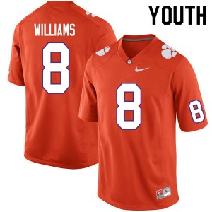 Youth NCAA #8 Tre Williams Clemson Tigers College Football Orange Jersey 708571-760