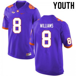 Youth NCAA #8 Tre Williams Clemson Tigers College Football Purple Jersey 803993-443