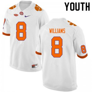 Youth NCAA #8 Tre Williams Clemson Tigers College Football White Jersey 954099-860